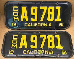 Rare Commercial Pair 1951 DMV Clear Com. A 9781 (california)license Plate-vintage
