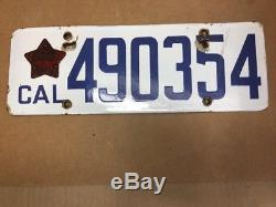 Rare DMV Clear 1919 Porcelain (california) 490354 License Plate Vintage