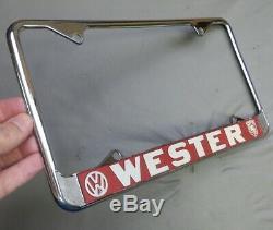 Rare Don Wester Motors (Monterey, California) Porsche VW License Plate Frame