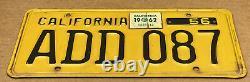 Rare Nice Pair 1956 DMV Clear Add 087 (california) Car License Plate-vintage