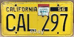 Rare Nice Pair 1956 DMV Clear Cal 297 (california) Car License Plate- Vintage