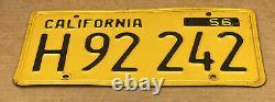 Rare Nice Pair 1956 DMV Clear H 92 242 (california)truck License Plate-vintage