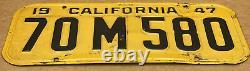Rare Pair 1947 Yom DMV Clear (california) 70 M 580 License Plate Vintage