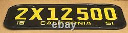 Rare Pair 1951 Yom DMV Clear 2x12500 (california) Car License Plate- Vintage
