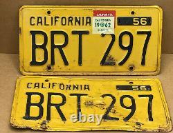 Rare Pair 1956 DMV Clear Brt 297 (california)car License Plate-vintage