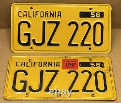 Rare Pair 1956 DMV Clear Gjz 220 1957-tag(california)car License Plate-vintage