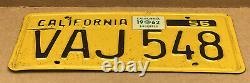 Rare Pair 1956 DMV Clear Vaj 548 1962-tag(california)car License Plate-vintage