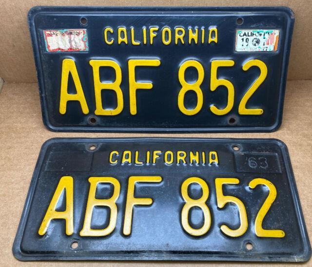 Rare Pair 1963 Dmv Clear-(california)-abf 852. License Plate