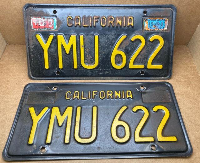 Rare Pair 1963 Dmv Clear-(california)-ymu 622. License Plate