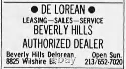 SUPER RARE Beverly Hills California Delorean Vintage Dealer License Plate Frame