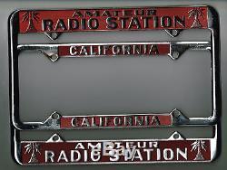 SUPER RARE California Amateur Radio Station PAIR Vintage License Plate Frame