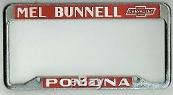 SUPER RARE Pomona California Mel Bunnell Chevrolet Vintage License Plate Frame