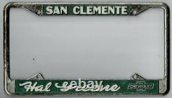 San Clemente California HAL GREEN CHEVROLET vintage dealer license plate frame