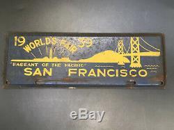San Francisco California Golden Gate Bridg 1939 WORLDS Fair License Plate TOPPER