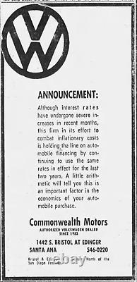 Santa Ana California Commonwealth Volkswagen Vintage Dealer License Plate Frame