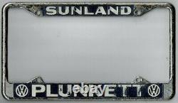 Sunland California PLUNKETT VOLKSWAGEN VW vintage dealer license plate frame