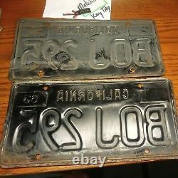 Two 1963 California LICENSE Plate set. Matching pair w DAV # key chain tag. RARE