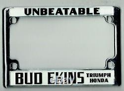 UNBEATABLE Bud Ekins Motorcycle Vintage California Triumph License Plate Frame