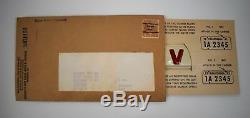 Unused WW2 California CA 1941 1942 Victory V License Plate Tabs Tags Orig. Card
