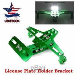 Us Cnc Universal Adjustable Folding License Plate Holder Taillight Bracket Mount
