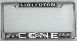 VERY RARE Fullerton California Cone Chevrolet Vintage Dealer License Plate Frame