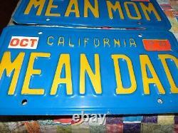 VINTAGE BLUE CALIFORNIA VANITY LICENSE PLATE Mean Dad CA State Plate