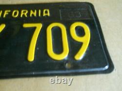 VINTAGE PAIR OF 1963 1967 CALIFORNIA MNY 709 Black LICENSE PLATES Pair