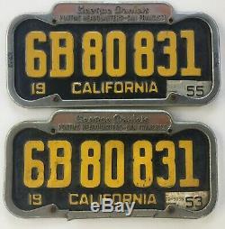 VTG 1951 California License Plate DMV YOM CLEAR PAIR with Pontiac Dealer Frames SF