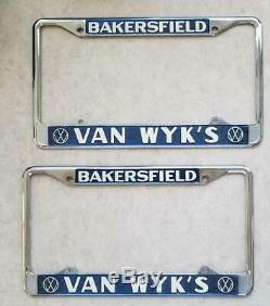 VW California Vintage Van Wyk's Dealer License Plate Frames Wyk Volkswagen Bus