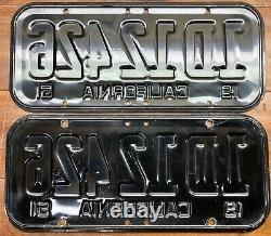 Very Beautiful, Original Pair 1951-1955 California License Plates, 1d 12 426