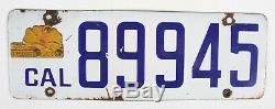 Vintage 1917 California White Porcelain License Plate + Original Poppy Tag Tab