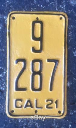 Vintage 1921 California Motorcycle License Plate Rare