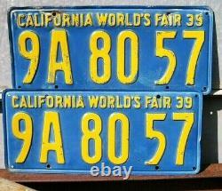 Vintage 1939 PAIR California World's Fair License Plate