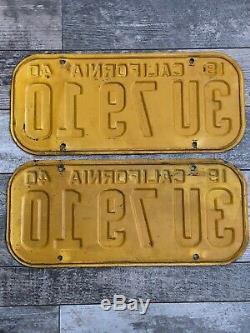 Vintage 1940 California license plates pair original paint excellent condition