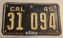 Vintage 1945 California Motorcycle License Plate HARLEY INDIAN ORIGINAL PAINT