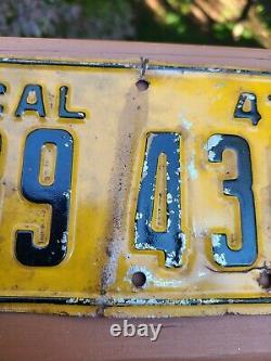 Vintage 1947 California Motorcycle License Plate HARLEY INDIAN ORIGINAL PAINT