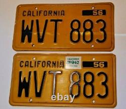 Vintage 1956 CALIFORNIA LICENSE PLATE SET Pair. All items just $1.00 shipping