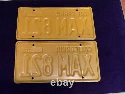 Vintage 1956 California Car License Plate Set Pair DMV Clear YOM 1962
