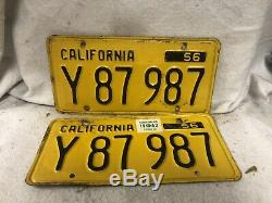 Vintage 1956 California License Plate Pair
