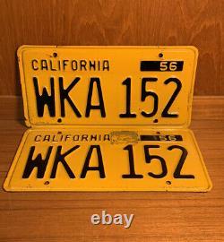 Vintage 1956 California License Plate Pair WKA 152