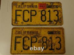 Vintage 1956 California License Plates