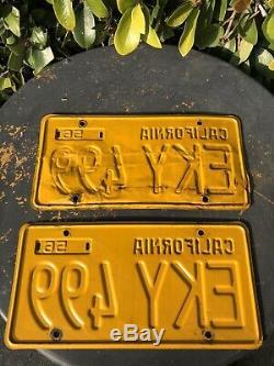 Vintage 1956 California license plates matching pair 1962 registration DMV Clear