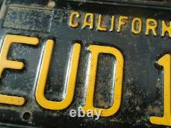 Vintage 1963, 1966 1967 California License Plates Matching Set original # EUD196