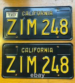 Vintage 1963-1969 California License Plate Pair ZIM 248 DMV Clear