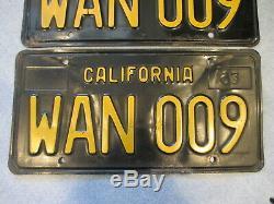 Vintage 1963 Black/Gold CALIFORNIA License Plates WAN 009 Pair Nice Embossed Set