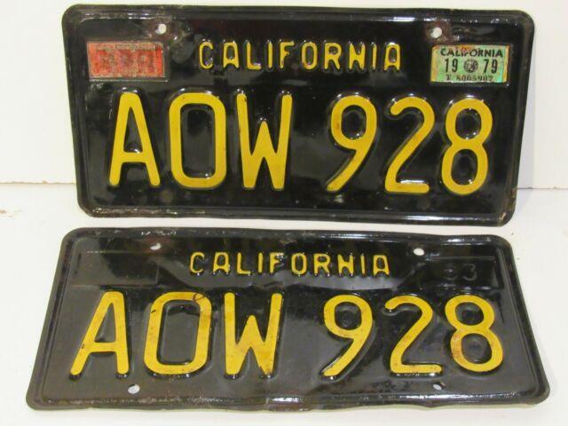 Vintage 1963 Black And Yellow California License Plates Pair Aow 928 Metal
