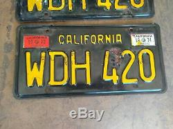 Vintage 1963 California CA Black License Plate Pair WDH 420