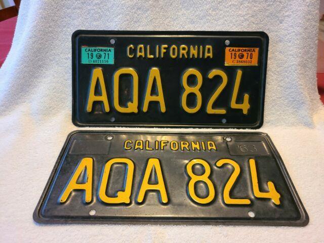 Vintage 1963 California License Plate Pair Yom Dmv Clear 1970 1971 Ford Chevy