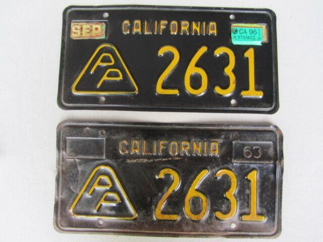 Vintage 1963 California Black Plate Press Photographer License Plate Set #2631