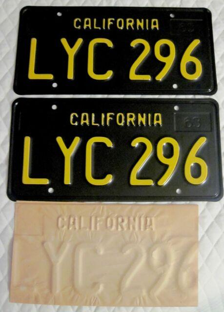 Vintage 1963 Pair Of Black California License Plates New Never Used Mint